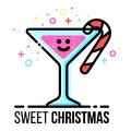 Vector christmas greeting card. Hot drink goblet with candy cane. Sugar stick in sparkling glass. Flat line style. New Royalty Free Stock Photo