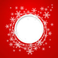 Vector christmas greeting card red with place for text and snowflakes Royalty Free Stock Images
