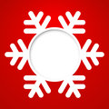 Vector christmas greeting card red with round place for text end snowflake Stock Photography