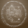 Vector Christmas house hand drawn pattern on wooden background. Royalty Free Stock Photo