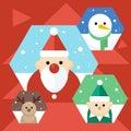 Vector Christmas icons.Cute portrait character, flat design, christmas theme