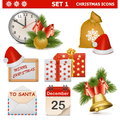 Vector christmas icons set on white background Royalty Free Stock Images