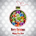 Vector christmas illustration with abstract bulb a and holiday elements on snowflakes background Stock Photo