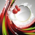 Vector Christmas illustration with red glass balls Stock Photo