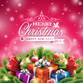Vector christmas illustration with typographic design and shiny holiday elements on red background Royalty Free Stock Photos