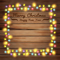 Vector christmas lights on wooden boards illustration template design Stock Photos