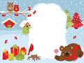 Vector Christmas and New Year Card Template with a Bear, Owls, Cardinal, Birdhouses and Gift Boxes on Snow Background. Royalty Free Stock Photo