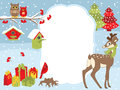 Vector Christmas and New Year Card Template with a Deer, Owls, Cardinal, Birdhouses and Gift Boxes on Snow Background.