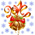 Vector christmas and new year decoration set red ribbon golden bell snowflake Stock Photography