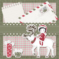 Vector Christmas and New Year scrapbook card Royalty Free Stock Photos