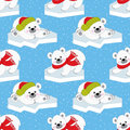 Vector Christmas and New Year Seamless Pattern with Polar Bears.