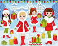 Vector Christmas and New Year Set with Beautiful Girls and Xmas Royalty Free Stock Photo