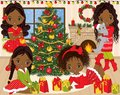 Vector Christmas and New Year Set with Cute Little African American Girls and Winter Elements Royalty Free Stock Photo