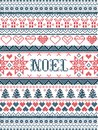 Vector Christmas pattern Noel inspired by festive, winter Nordic culture in cross stitch with hearts, christmas present