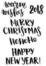 Vector Christmas phrase set. Hand painted Christmas lettering. Holiday text. Happy New year. Merry Christmas. Ho ho ho