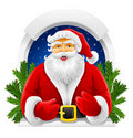 Vector Christmas Santa Claus in window Stock Photos
