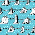 Vector christmas seamless pattern with houses and ornaments. Can be printed and used as wrapping paper, wallpaper Royalty Free Stock Photo