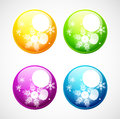 Vector Christmas shiny buttons with snowflakes Royalty Free Stock Photography