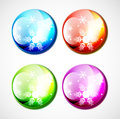 Vector Christmas shiny buttons with snowflakes Royalty Free Stock Photos