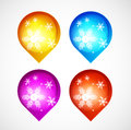 Vector Christmas shiny buttons with snowflakes Royalty Free Stock Images