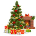 Vector Christmas Tree with Fireplace Royalty Free Stock Photo