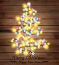Vector christmas tree made of christmas lights illustration template design Stock Photo