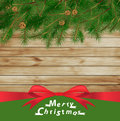 Vector christmas tree on wood texture background Stock Photography