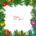 Vector Christmas Vintage Border Isolated On White Background
