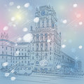 Vector christmas winter cityscape of a city center station square minsk belarus Royalty Free Stock Photo
