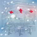Vector christmas winter sketch of the parisian caf cafe with decorations Stock Images
