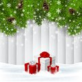 Vector Christmas wooden background with red giftboxes
