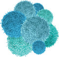 Vector Chunky Bunch of Blue Baby Boy Birthday Party Pom Poms Element.