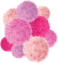 Vector Chunky Bunch of Pink Baby Girl Birthday Party Pom Poms Element. Great for handmade cards, invitations, wallpaper