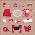 Vector cinema retro style element cartoon flat design Stock Photos