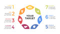 Vector circle arrows infographic, cycle diagram, graph, presentation chart. Business concept with 7 options, parts
