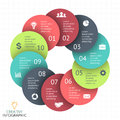 Vector circle arrows infographic, diagram, graph, presentation, chart. Business cycle concept with 10 options, parts