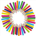 Vector circle background of colored pencils Royalty Free Stock Photo
