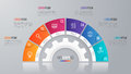 Vector circle chart template for infographics 6 options.