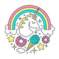 Vector circle composition with unicorn, rainbow, clouds, stars, ice cream, donuts. Cartoon style character Royalty Free Stock Photo