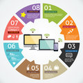 Vector circle computer and mobile device concepts with icons infographics Royalty Free Stock Photo