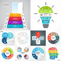 Vector circle infographic set. Business diagrams, arrows graphs, blur linear presentations, idea cycle charts. Data Royalty Free Stock Photo