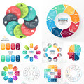 Vector circle infographic set. Business diagrams, arrows graphs, linear presentations, idea cycle charts. Data options Royalty Free Stock Photo
