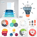 Vector circle infographic set. Business diagrams, arrows graphs, startup logo presentations, idea charts. Data options Royalty Free Stock Photo