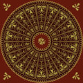 Vector Circle lace pattern of gold embroidery Royalty Free Stock Photo