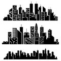 Vector cities silhouette on white background Royalty Free Stock Images