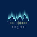 Vector : City building and wave sound Logo ,Music club concept Royalty Free Stock Photo