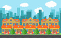 Vector city with cartoon houses and buildings. City space with road on flat style background concept