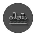 Vector city illustration in flat style.