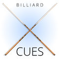 Vector classic wood billiard and pool cues for sports and recreation.