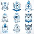 Vector classy heraldic Coat of Arms. Collection of blazons styli